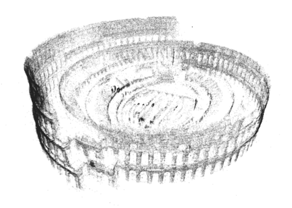 A screenshot of a reconstructed model of the Colosseum in Rome, using Chris's 3D modeling software. Credit: Chris Sweeney