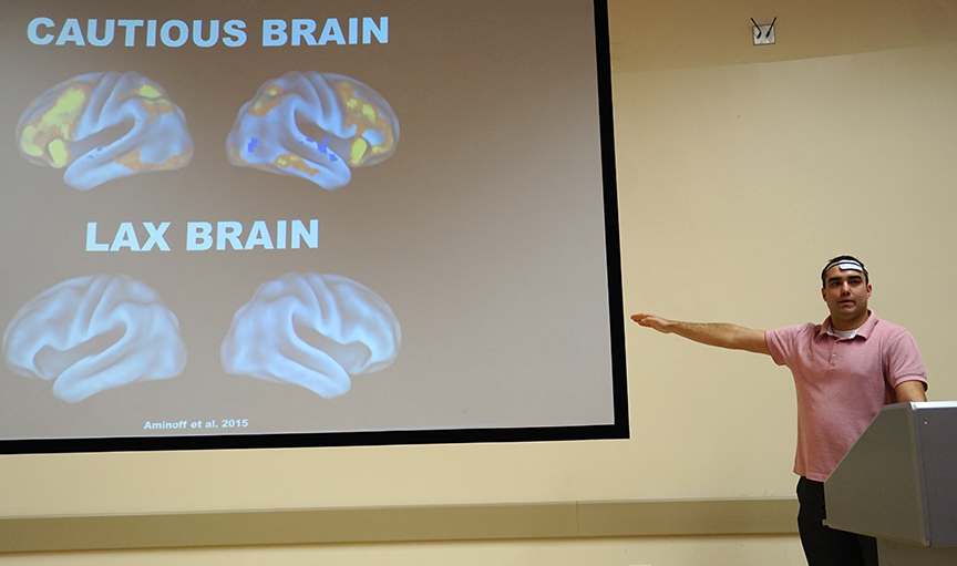 Evan Layher shared how to improve memory-based decision-making through neurostimulation. Credit: Patricia Marroquin