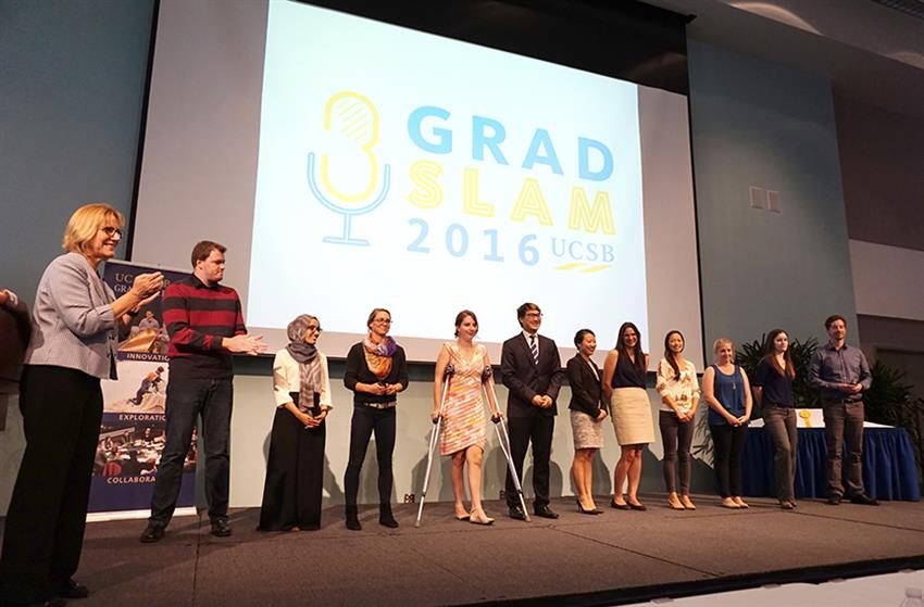 The finalists are recognized on stage by Graduate Division Dean Carol Genetti. Credit: Patricia Marroquin