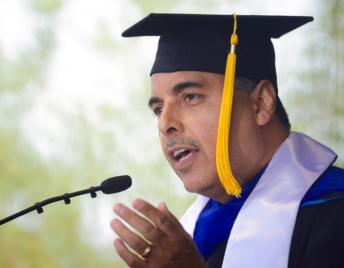 Jose Hernandez spoke of reaching for the stars in his Commencement address to UCSB School of Engineering graduates in June 2014. Credit: Mike Eliason