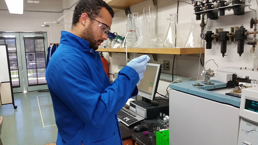 Working in lab: Using a routine technique called gas chromatography- flame Ionization detection (GC-FID) to identify the components in liquid mixtures