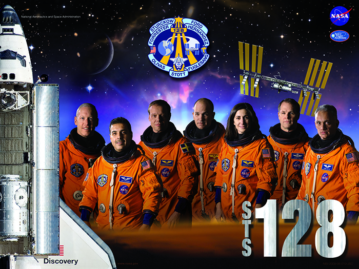 The crew of the 2009 STS-128 mission on the shuttle Discovery. Jose Hernandez is second from left.