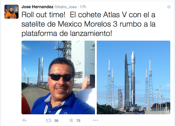 Jose Hernandez tweeted from Cape Canaveral at the launch of a Mexican communications satellite on Friday, Oct. 2.