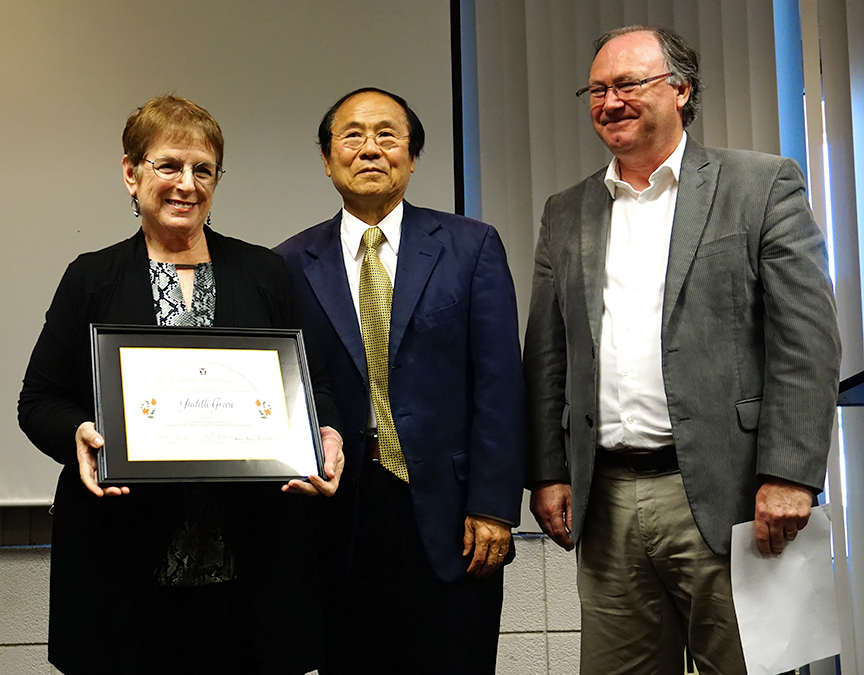 Professor Judith Green, Chancellor Henry Yang, and Professor Keith Clarke. Credit: Patricia Marroquin