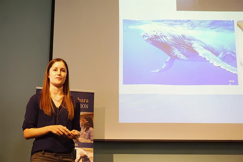 Kendall Mills discussed conservation of endangered whales in the Santa Barbara Channel. Credit: Patricia Marroquin