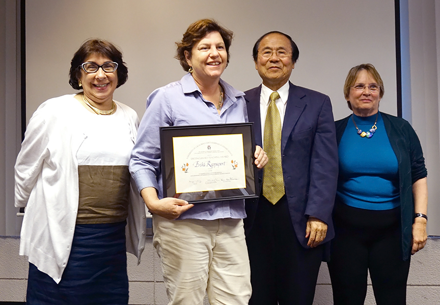 Erika Rappaport, second from left, poses with Kum-Kum Bhavnani, Chancellor Henry Yang, and Professor Sarah Cline. Credit: Patricia Marroquin