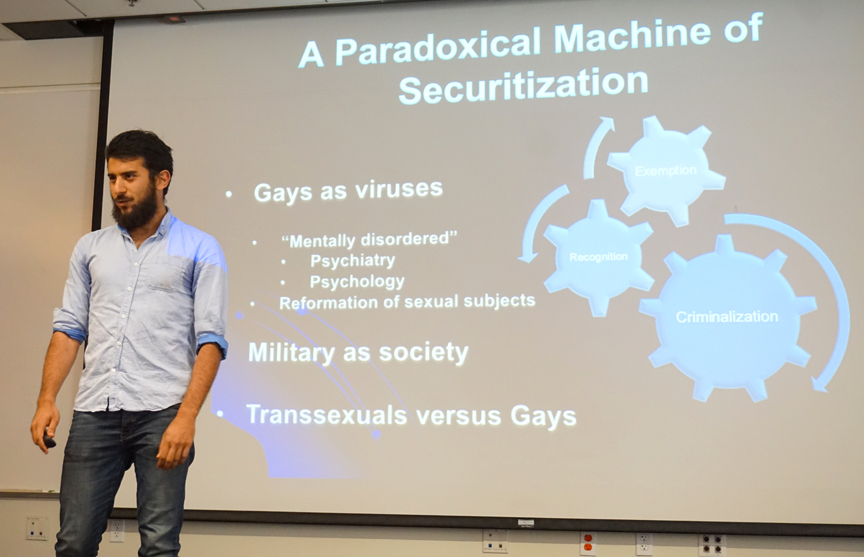 Navid Yousefian discussed military service and LGBT securitization in Iran. Credit: Patricia Marroquin