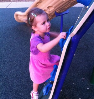 Phill's daughter Rosie climbing at a local playground in Santa Barbara