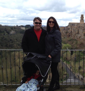 Natalie and family in Pitigliano, Italy