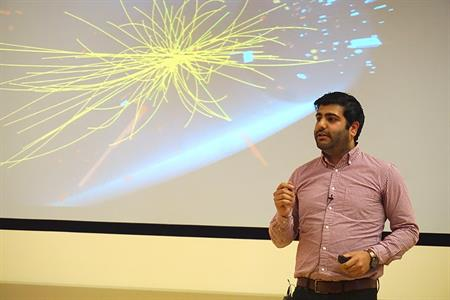 The focus of Rohan Bhandari's talk was particle physics. Credit: Patricia Marroquin