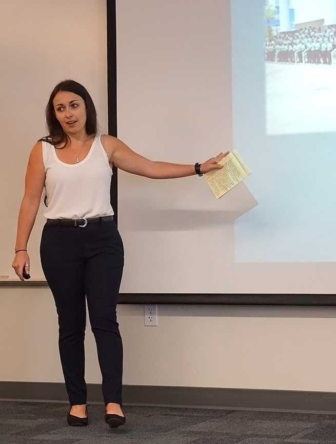 Sarah Neace talked about religious violence in Brazil. Credit: Patricia Marroquin