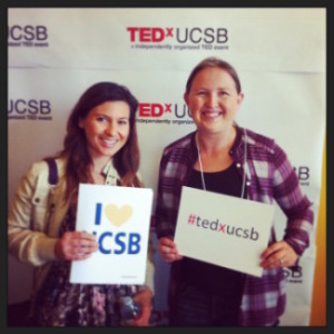 Selvi Ersoy and her labmate Jessica Kubicek-Sutherland at the April 2014 UCSB TEDx conference. Photo courtesy of Selvi Ersoy