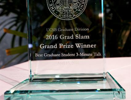 A closeup of the coveted Grad Slam Grand Prize trophy. Credit: Patricia Marroquin