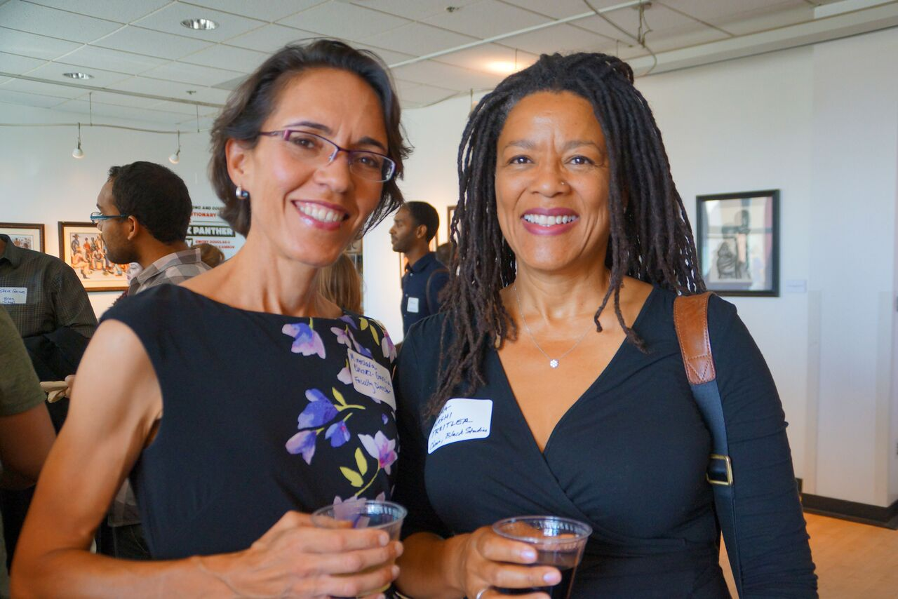Professor of History and Faculty Director of Graduate Diversity Iniatives Miroslava Chavez-Garcia with the Chair of Black Studies Vilna Bashi Treitler. Credit: Ebers Garcia