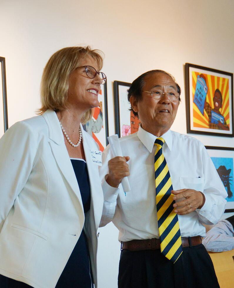 Graduate Division Dean Carol Genetti and Chancellor Henry T. Yang address the reception attendees. Credit: Ebers Garcia