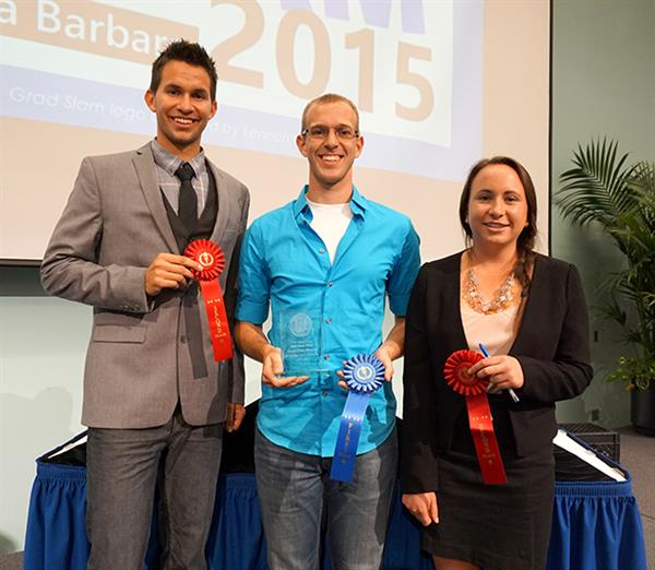 The winners of the 2015 UCSB Grad Slam: Champion Daniel Hieber (Linguistics), center; and Runners-Up Abel Gustafson (Communication) and Jessica Perkins (Bren). Credit: Patricia Marroquin