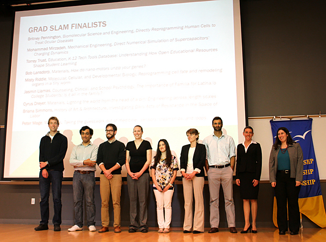 The nine 2013 Grad Slam finalists: From left, Bob Lansdorp, Mohammad Mirzadeh, Peter Mage, Torrey Trust, Jasmin Llamas, Misty Riddle, Cyrus Dreyer, Britney Pennington, and Briana Simmons. Peter Mage, third from left, was the grand prize winner. Credit: Patricia Marroquin