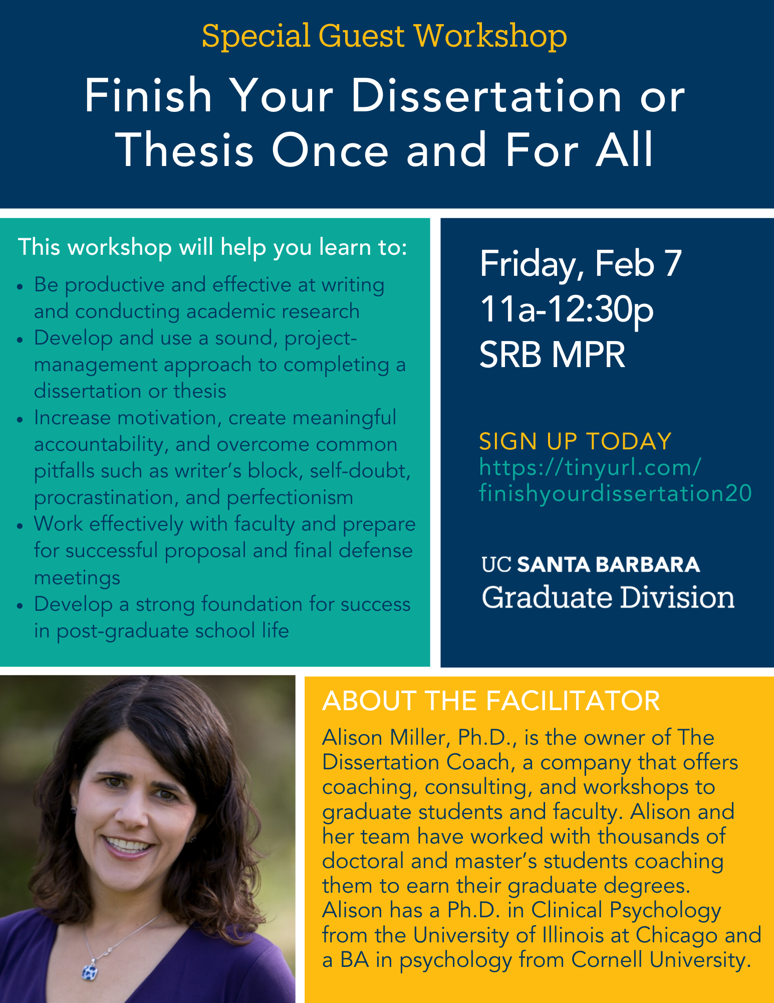Finish Your Dissertation Or Thesi Once And For All Special Guest Workshop Alison Miller