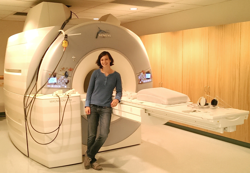 Deborah Barany works in the UCSB Brain Imaging Center with an MRI scanner. Courtesy photo
