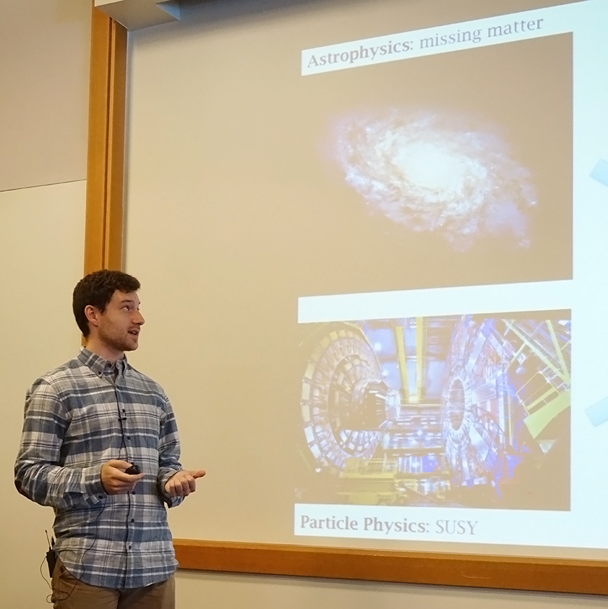 Curt Nehrkorn spoke about dark matter in the universe. Credit: Patricia Marroquin