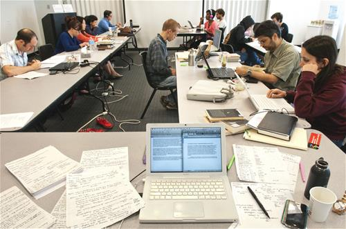 Graduate students participate in a Dissertation Write-In at the University of Chicago
