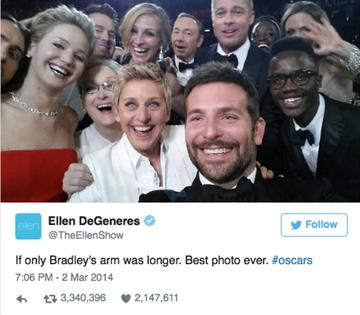 The most retweeted tweet: Ellen Degeneres' selfie with a few of her closest celebrity friends at the 2014 Oscars.