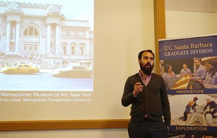 JV Decemvirale's topic focused on radical arts organizing in Black and Latino Los Angeles. Credit: Patricia Marroquin