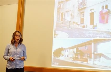 Mallorie Chase spoke of her studies of paper thrones in Lisbon, Portugal. Credit: Patricia Marroquin