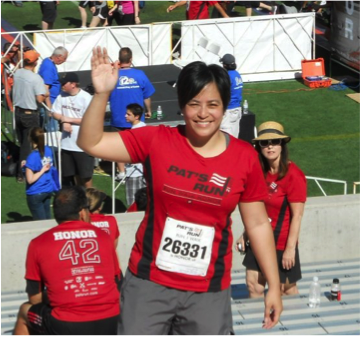 Every year, Noreen does the Pat Tillman Run, which raises funds for college scholarships to veterans and spouses of veterans.