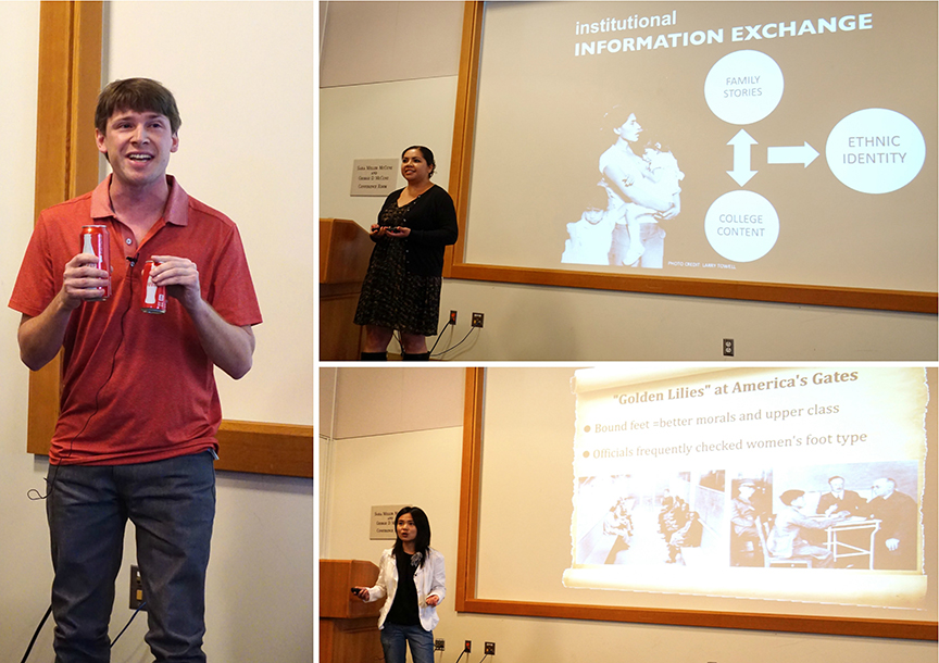 Clockwise from left, Joseph Palazzo, Ester Trujillo, and Fang He present their talks. Credit: Patricia Marroquin