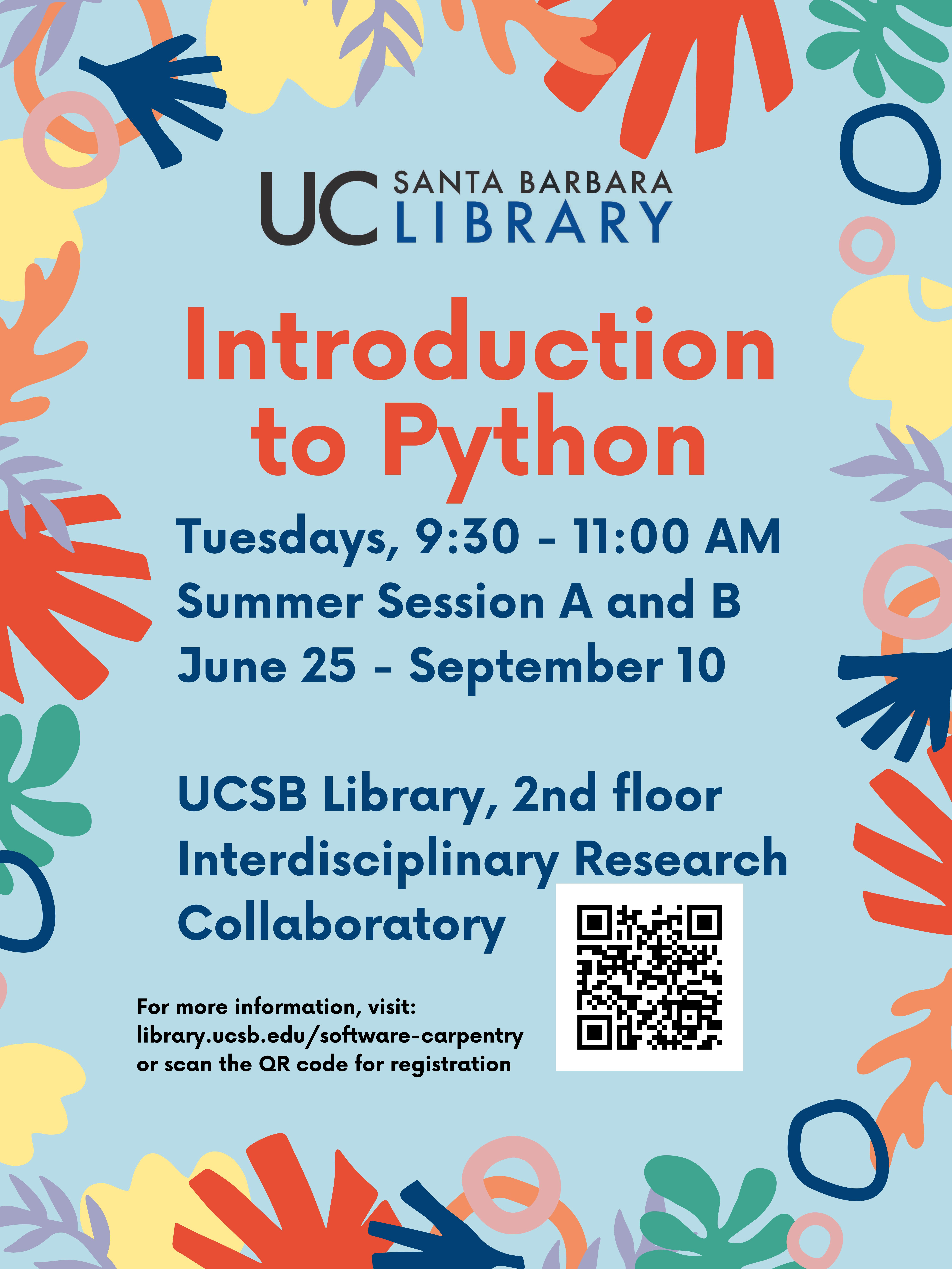 UCSB Library to offer free Python Series for Summer 2019