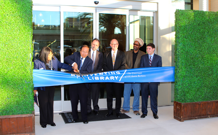 Presiding at the UCSB Library ribbon-cutting are, from left, University Librarian Denise Stephens; UCSB Chancellor Henry T. Yang; Executive Vice Chancellor David Marshall; Vice Chancellor for Administrative Services Marc Fisher; GSA President Aaron Jones; and Associated Students President Jimmy Villareal. Credit: Monie Photography