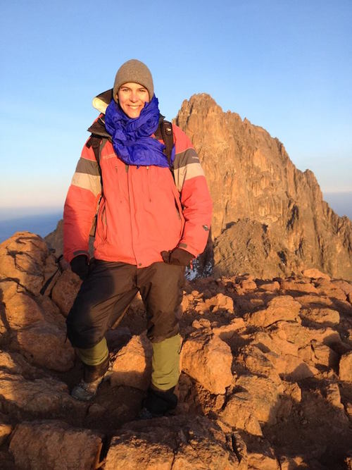Sara takes a break from surveying rodents on Mt. Kenya to climb Lenana Peak (16,355 ft!)