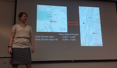 Sarah Kerchusky gives some historical background on her archeological research of textiles