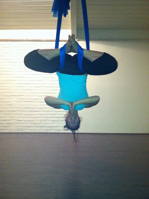 Selvi doing aerial yoga. Photo courtesy of Selvi Ersoy
