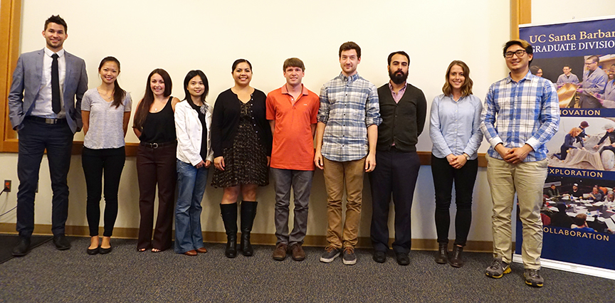 Presenters from Grad Slam Semifinal Round 1 pose for a photo before taking questions from the audience. Credit: Patricia Marroquin