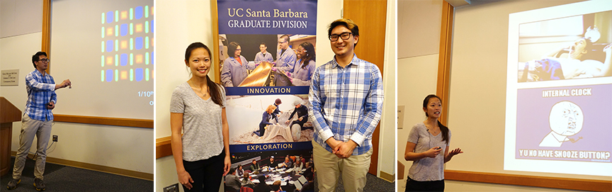 UCSB Grad Slam Semifinal Round 1 winners are Nicole Leung and David Hwang. Credit: Patricia Marroquin