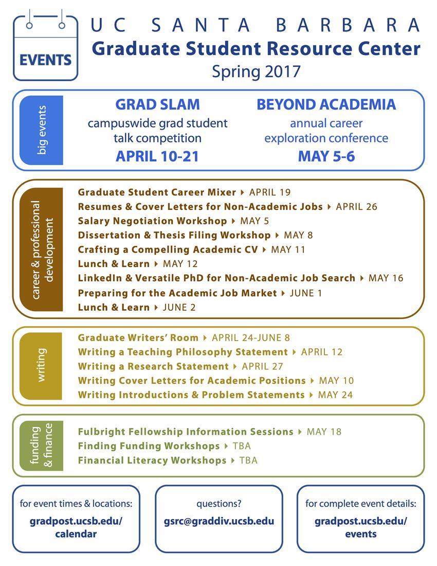 Ucsb Calendar.Mark Your Calendar With Spring 2017 Graduate Student Events