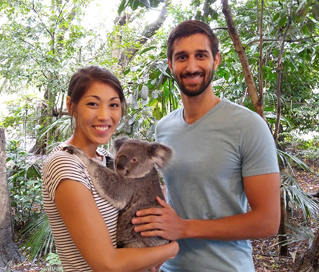 Chris and his girlfriend enjoying the local fauna on a trip to Australia. Photo courtesy of Chris Sweeney