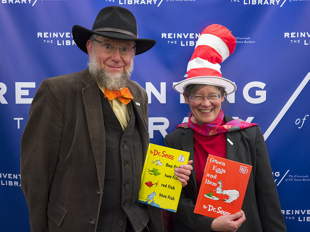 College of Creative Studies Dean Bruce Tiffney was among those posing with Dr. Seuss books in the photo booth. Photo courtesy of UCSB Library