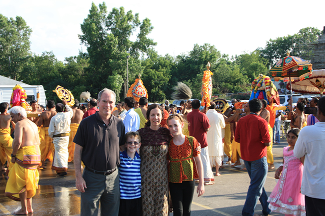 Dr. Tracy Pintchman visits the Parashakthi Temple in Pontiac, Mich., in July 2013 with her family: husband Dr. William C. French; son Noah French; and daughter Molly French. Dr. Pintchman is writing a book about the temple.
